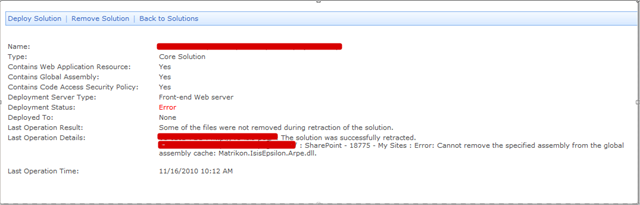 SharePoint Error Message