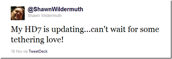 Shawn Wildermuth Tweet