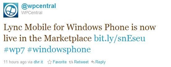 Twitter News about Lync Mobile