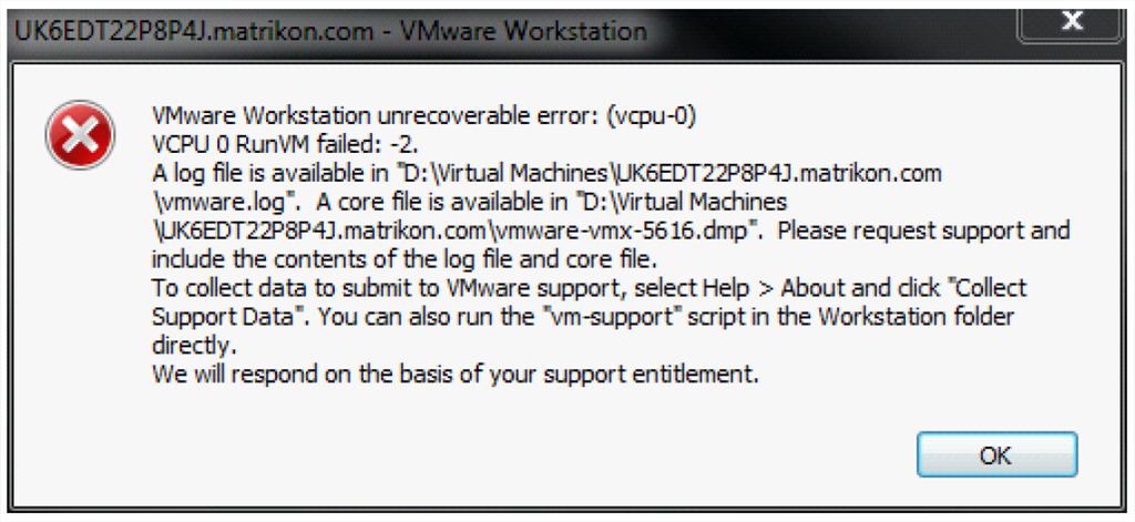 VMWare Workstation Error