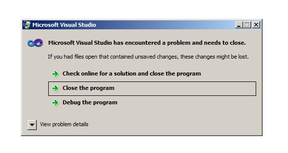 Microsoft Visual Studio Error Message