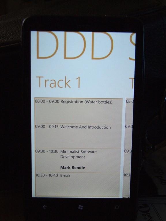 DDDSW Windows Phone Agenda