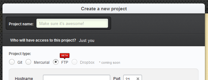 Create New Project FTP