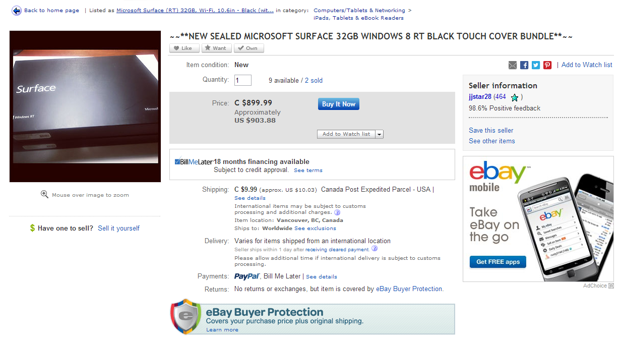 Ebay Auction for Surfaces